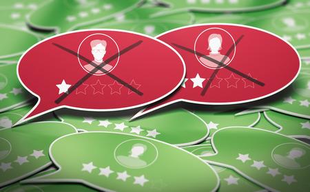 Ilustración 3D de muchas burbujas de discurso con dos comentarios comerciales negativos eliminados. Concepto de gestión de reputación en línea. Foto de archivo