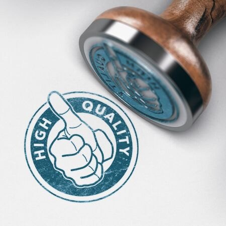 3D illustration of a rubber stamp mark with thumb up and text high quality over paper background Foto de archivo
