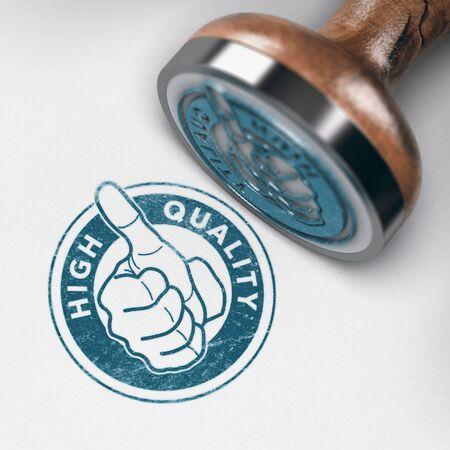 Ilustración 3D de una marca de sello de goma con pulgar arriba y texto de alta calidad sobre fondo de papel Foto de archivo - 85956942
