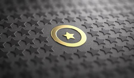 Many stars in relief on black paper background with focus on a golden one surrounded by a circle. Concept of Uniqueness and quality difference. 3D illustration Stock Photo