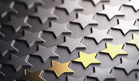 Muchas estrellas en relieve sobre fondo de papel negro con enfoque en cinco de oro. Concepto de reputación de la compañía y excelencia empresarial. Ilustración 3D