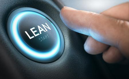 Vinger op het punt om Lean Transformation te starten door op een drukknop te drukken. Samengesteld beeld tussen handfotografie en een 3D achtergrond. Stockfoto