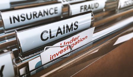 Cartella con close up sulla parola claim e una nota dove è scritta sotto inchiesta. Concetto di frode assicurativa, illustrazione 3d