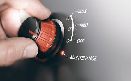 instability: Electronics system switch. Hand turning knob to the maintenance position. Composite image between a hand photography and a 3D background. Stock Photo