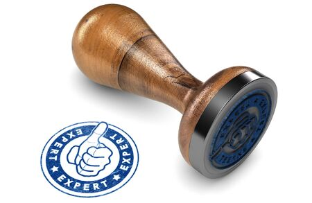 trusted: Wooden Rubber Stamp over white background. Concept of advice and expertise in business. 3D illustration