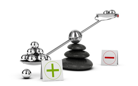 Seesaw containing metal spheres inclined on the positive side. Concept of Pros and cons analysis over white background. 3D illustration Banco de Imagens