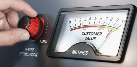 Tourner à la main un bouton de vidage pour optimiser la production et réduire les coûts dans le but de créer de la valeur pour le client. Concept de fabrication sans gaspillage. Image composite entre une photographie de main et un fond 3D. Banque d'images