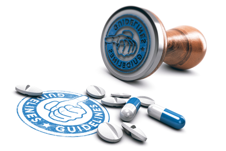 3D illustration of rubber stamp with the text guideline and pills over white background. Concept of good pharmaceuticals practice.