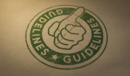 Green Rubber stamp mark with the text guidelines and thumb up over brown cardboard background.