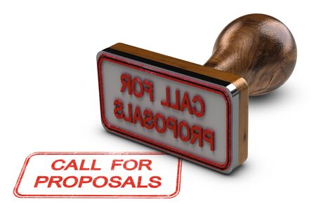 3D illustration of rubber stamp over white background with the text call for proposals