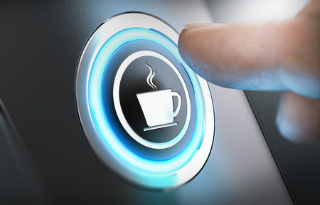 Finger pressing a coffee machine button with a cup icon. Break concept. Composite between a photography and a 3D background. Horizontal image