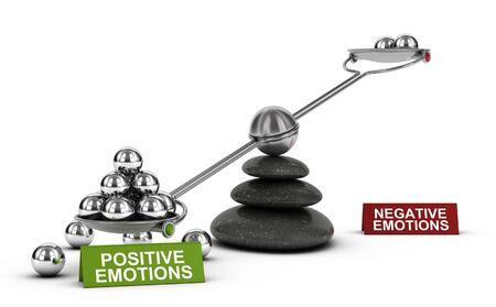 3D illustratie van een geschommel met metaalgebieden met de woorden positieve en negatieve emoties over witte achtergrond. Concept van geestelijk en emotioneel welzijn.