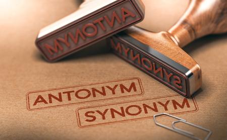 テキストの反意語と類義語 2 つのゴム製のスタンプの 3 D イラストレーション。言語学・意味論の概念