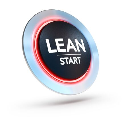3D illustration of a button with the text lean start over white background.