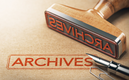 3D illustration of rubber stamp with the text archives printed on paper background. Concept of historical records Imagens