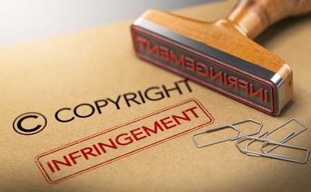 3D illustration of rubber stamp with the words copyright and infringement over kraft paper background, Concept of intellectual property.