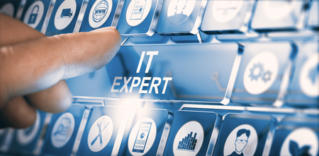 Finger pressing a modern interface with the text IT expert. Concept of information Technologies professional. Composite between a photography and a 3D background