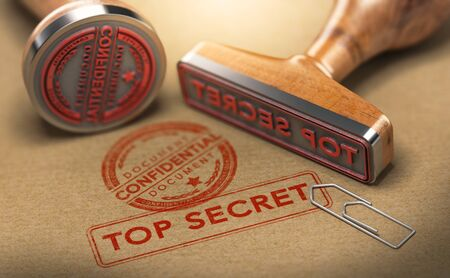 3D illustration of two rubber stamps with the text confidential and top secret stamped on brown paper background. Sensitive information and National security concept.