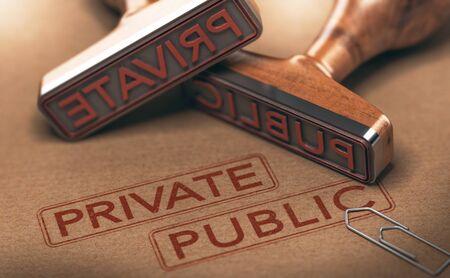Illustration 3D de deux tampons en caoutchouc sur fond de papier. Concept des secteurs privé et public. Banque d'images - 90703675