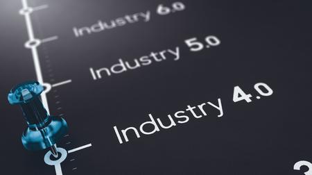 3D illustratie van zwart papier met de tekstindustrie 4.0, 5.0 en 6.0 en een blauwe punaise. Concept futures industriële revoluties.