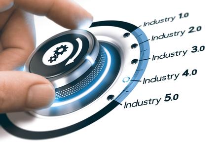 Hand, die einen Knopf mit Gangikone über weißem Hintergrund dreht. Konzept der industriellen Revolutionsschritte und Industrie 4.0. Zusammengesetztes Bild zwischen einer Fotografie und einem 3D Hintergrund.