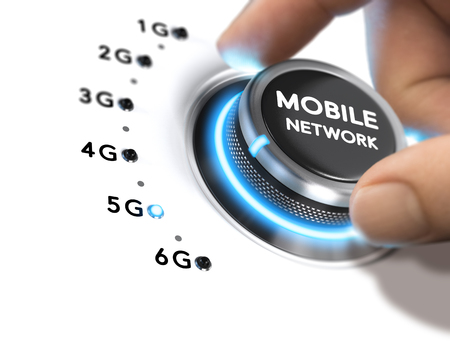 Hand turning a knob over white background and selecting the 5G mobile network generation. Composite image between a hand photography and a 3D background. Stock Photo