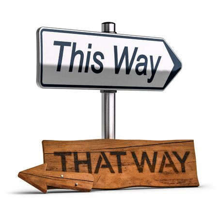 3D illustration of a wooden road signs pointng the past and an another one pointng the future over white background. Concept of making the right choice  Stock Photo