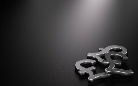 3D illustration of three Pound Sterling symbols over black background