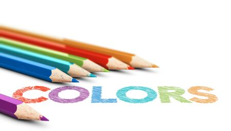 3D illustration of six wooden color pencils with the word colors over white background