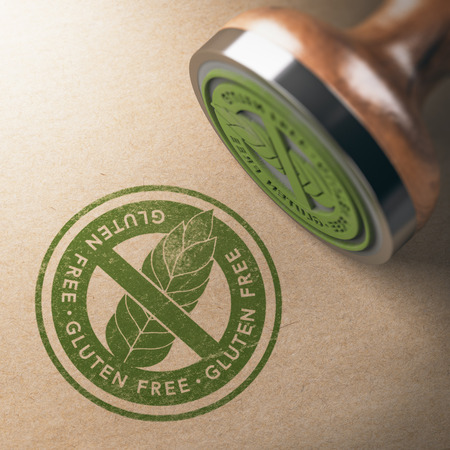 3D illustration of rubber stamp with the gluten free printed on kraft paper background. Diet concept.