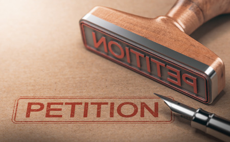 3D illustration of rubber stamp over paper background with the word petition Stock Photo