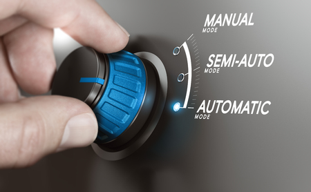 Hand turning a knob over grey background and selecting the automatic mode. Manufacturing process automation or automatic testing concept. Composite image between a hand photography and a 3D background.