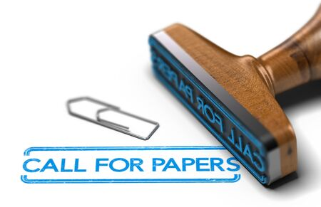 3D illustration of rubber stamp over white background with the text call for papers. Conference or workshop event announcement and organization Stock Photo