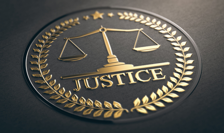 Scales of justice embossed symbol design with golden foil over black paper background. 3D illustration  Stock Photo