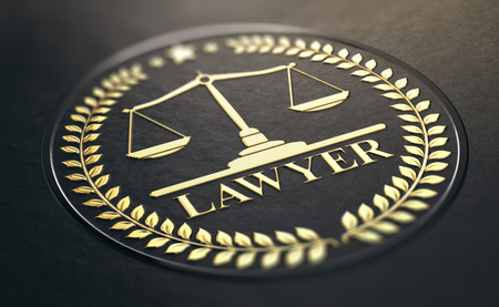 Lawyer symbol, golden stamp with scales of justice and laurel wreath embossed on black paper background. 3D Illustration