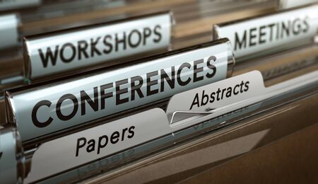 3D illustration of a folder with focus on the word conference. Concept of call for papers or abstracts