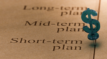 Dollar shaped pushpin, pined on a timeline in front of the text short-term plan. Concept of short term investments plan