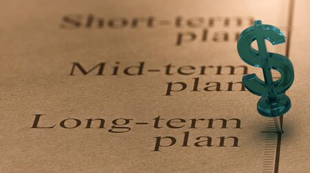 Dollar shaped pushpin, pined on a timeline in front of the text long-term plan. Concept of long term investments plan