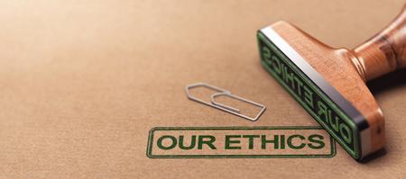 Illustration 3D de timbre en caoutchouc sur fond de papier avec le texte notre éthique. Concept de principes moraux de l'entreprise