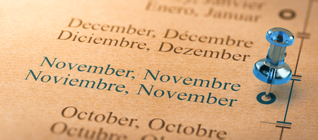3D illustration of project or business planning with a thumbtack pointing on november. Months of the year concept.