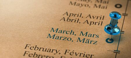3D illustration of project or business planning with a thumb tack pointing on march. Months of the year concept.