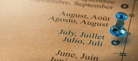 7月に指し示す親指タックでプロジェクトやビジネスプランニングの3Dイラスト。年の概念の月。