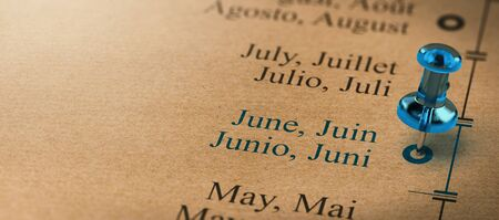 3D illustration of project or business planning with a pushpin pointing on june. Months of the year concept.