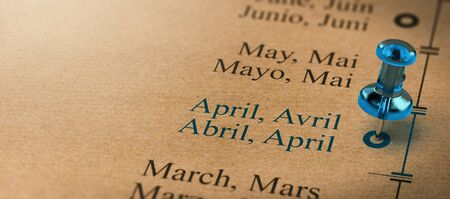 Poject or business planning with a thumb tack pointing on april. Months of the year concept. 3D illustration.
