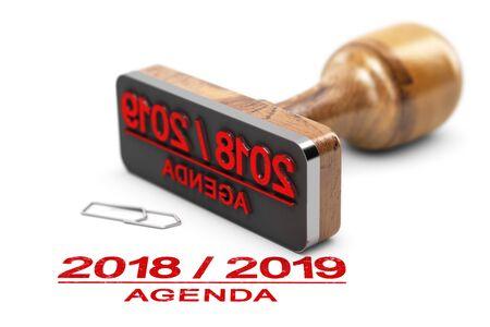 Rubber stamp and 2018 2019 agenda over white background. 3d illustration.
