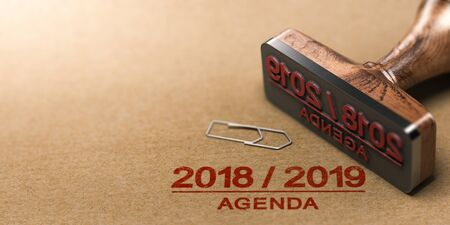 Rubber stamp and 2018 2019 agenda printed on kraft paper background. 3d illustration.