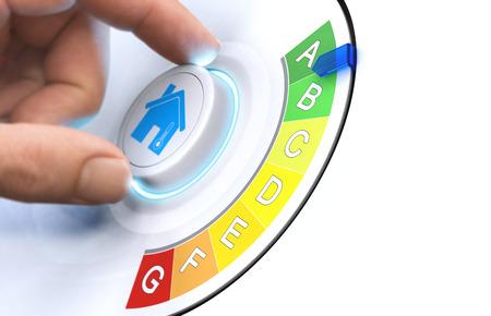 Mão girando um botão para tornar uma casa mais eficiente de energia. Imagem composta entre uma fotografia da mão e um fundo 3D. Foto de archivo