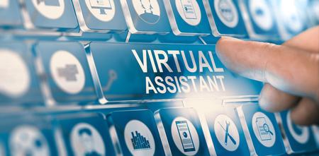 Dedo pressionando um botão digital com o assistente virtual de texto. Conceito de serviços pessoais de PA. Composto entre uma fotografia de mão e um fundo 3D