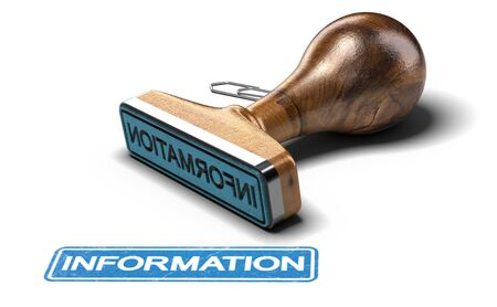 3D illustration of rubber stamp over white background with the text information.