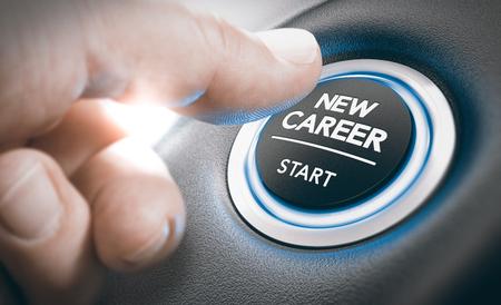 Palec naciskając nowy przycisk rozpoczęcia kariery. Pojęcie przekwalifikowania zawodowego lub zawodowego lub możliwości zatrudnienia. Połączenie fotografii dłoni i tła 3D
